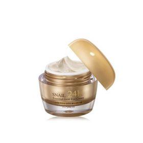 Набор Крем для глаз с муцином улитки и вибромассажер The Saem Snail Essential 24K Gold Eye Cream Set 30 мл