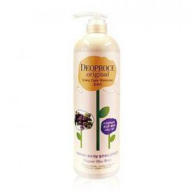 Шампунь-бальзам для блеска волос 2 в 1 с черникой Deoproce Original Hair Root Care 2 in 1 Shampoo Blueberry 1000 мл