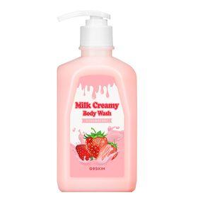 Гель для душа с молочными протеинами клубничный Berrisom G9SKIN Milk Creamy Body Wash Strawberry 520 гр
